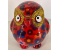 Petit-Pidou Owlets - Mini Moneybank - Red with Flowers