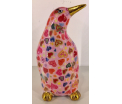 Cezar Moneybank Pinguin - Pink with Hearts
