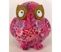 Errol - Moneybank Owl - Pink with Hearts