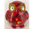 Errol - Moneybank Owl - Red with Circles