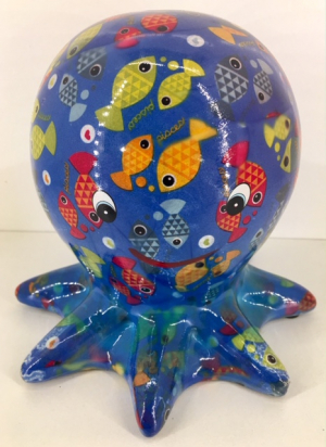 Inky Moneybank Octopus - Blue with fish