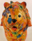 Leo Moneybank Lion - Orange with Flowers and Butterflies