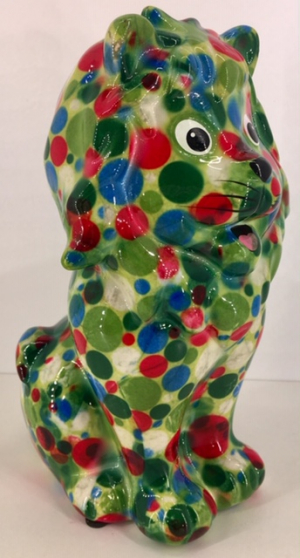 Leo Moneybank Lion - Green with Circles Multicolour