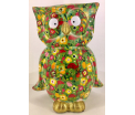 Big Bo Moneybank Owl XL - Green with Flowers