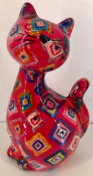 Caramel - Moneybank Cat - Red with Multicolour Squares
