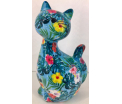 Caramel - Moneybank Cat - Blue with Flowers
