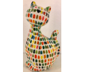 Caramel - Moneybank Cat - White with Multicolour Dots