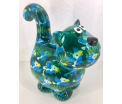 Dorothy Moneybank Cat - Green with Blue Birds