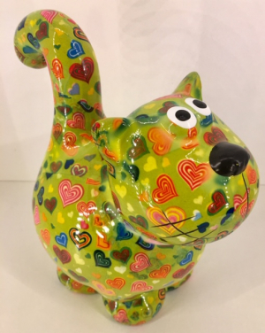 Dorothy Moneybank Cat - Green with Hearts