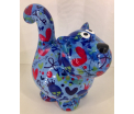 Dorothy Moneybank Cat - Blue with Multicolour Hearts