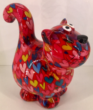 Dorothy Moneybank Cat - Red with Multicolour Hearts