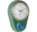 Green Clock with kitchen timer Retro , 23X16cm, (excl. 1AA batt)