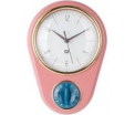 Pink Clock with kitchen timer Retro , 23X16cm, (excl. 1AA batt)