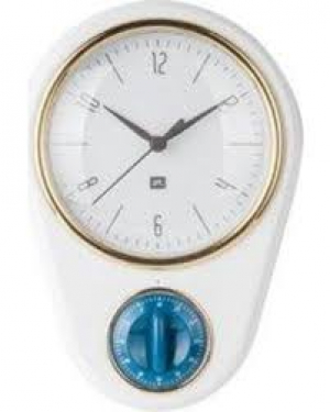 White Clock with kitchen timer Retro , 23X16cm, (excl. 1AA batt)