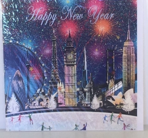 Kerstkaart - Happy New Year Citys - Text inside: Happy New Year
