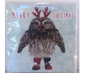 Kerstkaart - Christmas Owl - Text inside: Merry Christmas and a Happy New Year