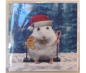 Kerstkaart - Whte Mouse - Text inside: Merry Christmas an a Happy New Year