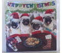 Kerstkaart - Happy christmas Pugs - Text inside: Merry Christmas an a Happy New Year