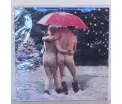 Kerstkaart - Couple under Umbrella - Text inside: Merry Christmas and a Happy New Year