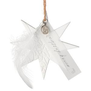 Porcelain Ornament - Merry Christmas - Porcelain unglazed, embossed, with feather, transparent paper, natural cord - 8-9cm - Räder - Design Stories,
