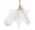 Porcelain Ornament - Make a Wish - Porcelain unglazed, embossed, with feather, transparent paper, natural cord - 8-9cm - Räder - Design Stories,