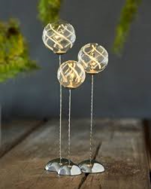 Vein trio light balls H18/21,5/25 cm - set 3pcs - mouth blown glass