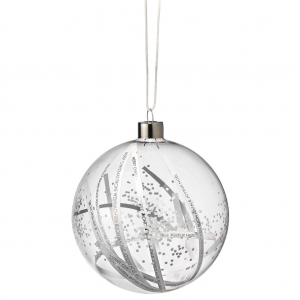 Dream bauble - Paper stripes - Big 10,5cm - Glass with metal hanger and different fillings - Räder - Design Stories,