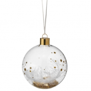 Dream bauble - Stars feather, gold - Small 7,5cm - Glass with metal hanger and different fillings - Räder - Design Stories,